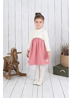 Nila Kids Ekru Rengi Robalı Kız Bebek Organik Elbise NK09006E (6 AY- 5 YAş)
